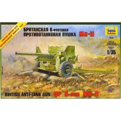 British Anti-Tank Gun QF 6-PDR MK-II löveg makett Zvezda 3518