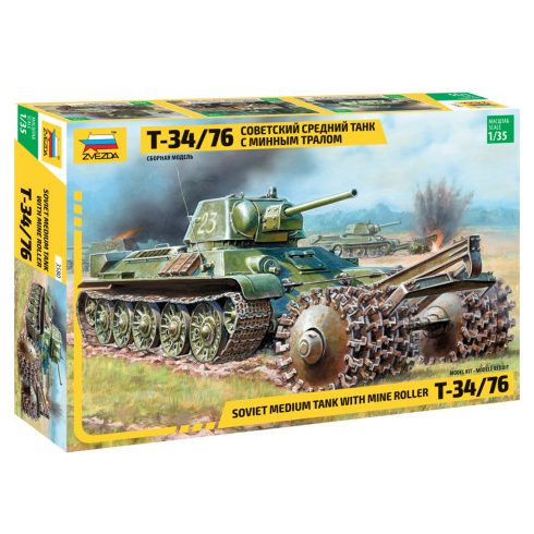 Zvezda T-34/76 Soviet tank with mine roller tank makett 3580
