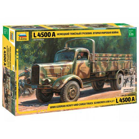 Zvezda Heavy German Cargo Truck L 4500 S katonai jármű makett 3596