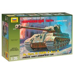 Zvezda King Tiger Porsche tank makett 1:35 3616