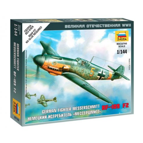 "German Fighter ""Messershmitt"" BF-109 F2 katonai repülő makett Zvezda 6116"