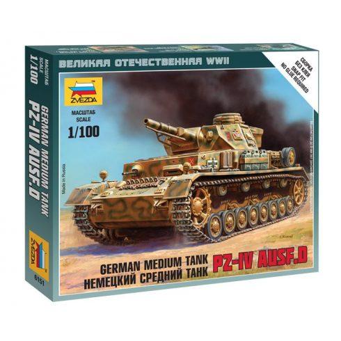 Zvezda German Medium Tank Pz-4 AUSF.D tank makett 6151