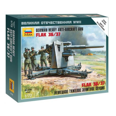 German Heavy Anti-Aicraft Gun FLAK 36/37 löveg makett Zvezda 6158