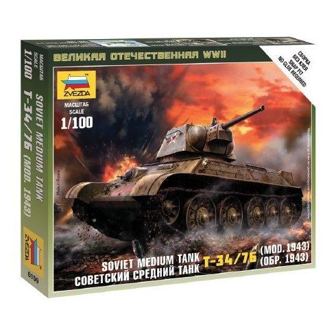 Zvezda Soviet Medium Tank T-34-76 mod.1942 - Military small set 1:100 (6159) tank makett