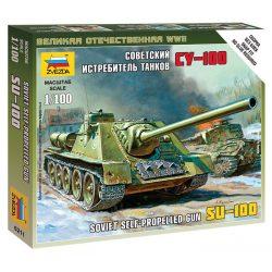 SU-100 - Soviet Self-Propelled Gun tank harcjármű makett Zvezda 6211