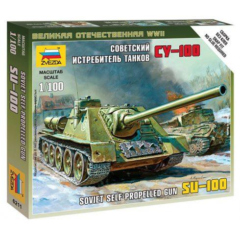 Zvezda SU-100 - Soviet Self-Propelled Gun tank harcjármű makett 6211