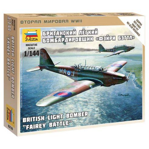 Zvezda British Light Bomber Fairey Battle katonai repülő makett 6218