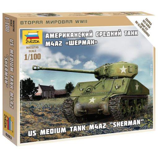 "Zvezda US Medium Tank M4A2 ""Sherman"" tank makett 6263"