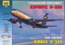 Civil airliner Airbus A-320 polgári repülő makett Zvezda 7003
