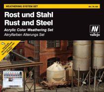 Rust and Steel weathering set Rozsda és Acél öregítő festékes szett Vallejo 70150