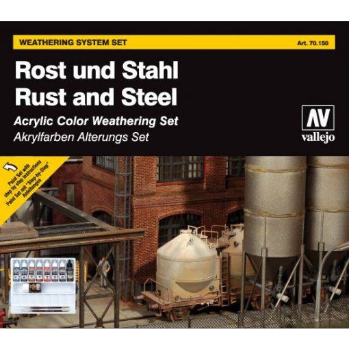 Vallejo Rust and Steel weathering set Rozsda és Acél öregítő festékes szett 70150