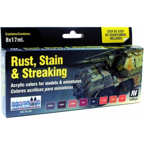 Vallejo Rust, Stain & Streaking festék szett 70183