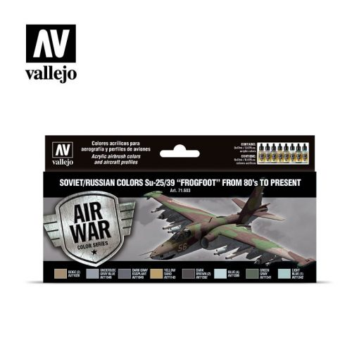 "Vallejo Model Air Paint Set - Soviet/Russian Colors Su-25/39 ""Frogfoot"" from 80's to Present - 71603"