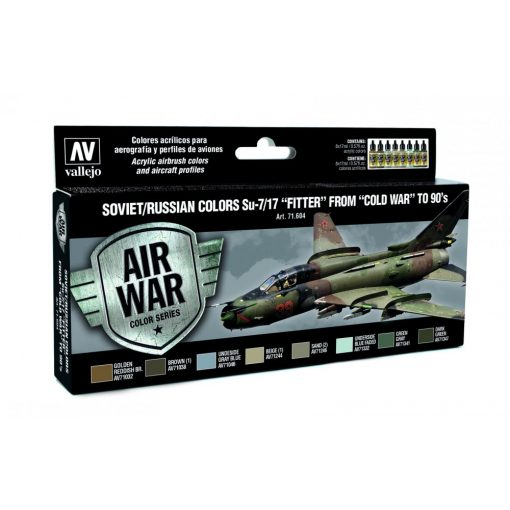 """Vallejo Model Air Paint Set - Soviet/Russian Colors Su-7/17 """"Fitter"""" from""""Cold War"""" to Present - 71604"""