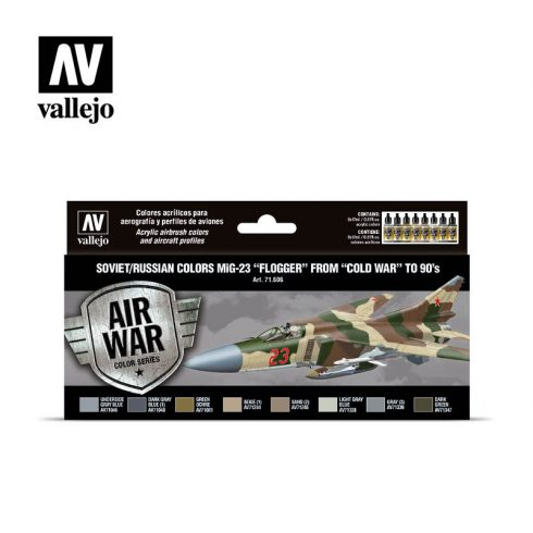 "Vallejo Model Air Paint Set - Soviet/Russian Colors MiG-23 ""Flogger"" from ""Cold War"" to 90's - 71606"