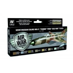 """Vallejo Model Air Paint Set - Soviet/Russian Colors MiG-21 """"Fishbed"""" from """"Cold War"""" to 90's - 71607"""
