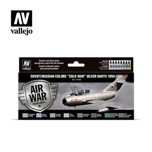 """Vallejo Model Air Paint Set - Soviet/Russian Colors """"Cold War"""" Silver Darts 1950-1980 - 71610"""