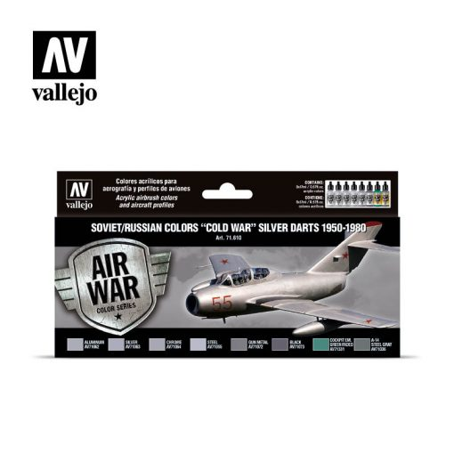 "Vallejo Model Air Paint Set - Soviet/Russian Colors ""Cold War"" Silver Darts 1950-1980 - 71610"