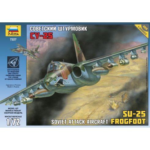 SOVIET GROUND-ATTACK AIRCRAFT SU-25 katonai repülő makett Zvezda 7227