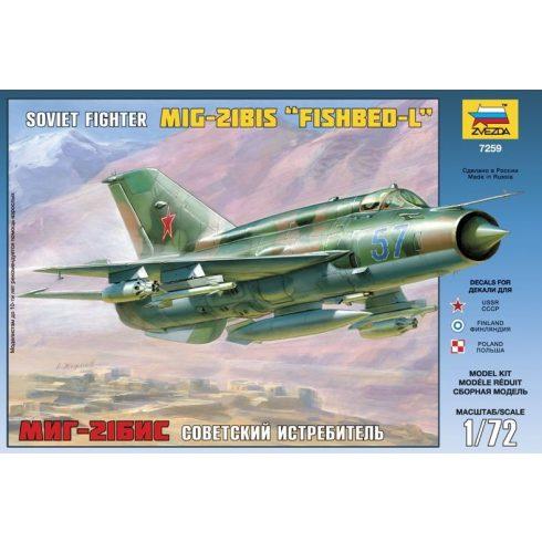 Zvezda MiG-21bis Soviet Fighter repülőgép makett 7259