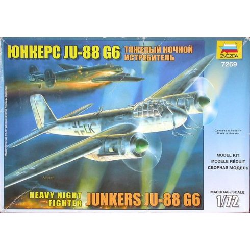 Junkers Ju 88 G-6 Night Fighter katonai repülő makett Zvezda 7269
