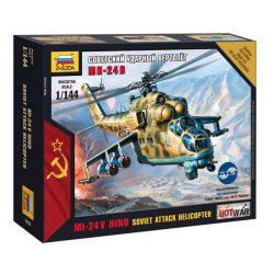Zvezda Soviet Attack Helicopter Mi-24V Hind helikopter makett 7403