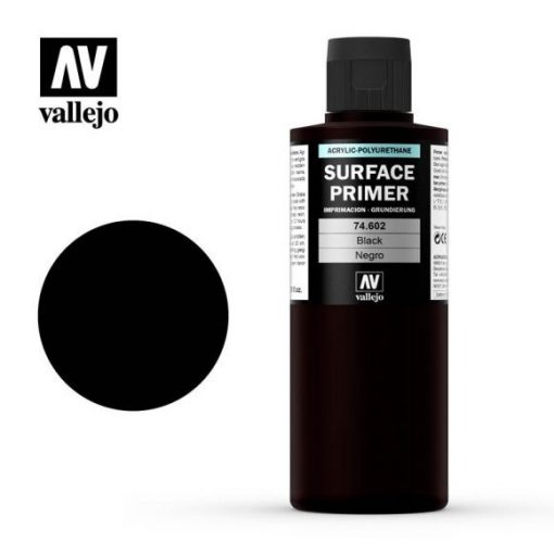 Vallejo Black Surpace primer alapozó 200 ml 74602
