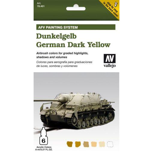 Vallejo German Dark Yellow AFV paint set német sötétsárga színhez festékes szett 78401