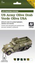 US Olive Drab AFV paint set amerikai olívzöldhöz festékes szett vallejo 78402