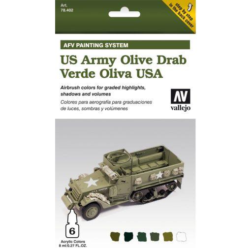 Vallejo US Olive Drab AFV paint set amerikai olívzöldhöz festékes szett 78402
