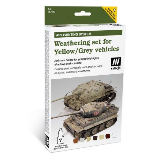 Vallejo Weathering set for Yellow and Grey vehicles AFV paint set sárga és szürke járművekhez öregbítő festékes szett 78405