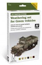 Weathering set for Green vehicles öregbítő és koszoló festék szett zöld járművekhez vallejo 78406