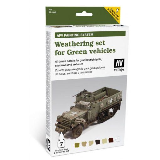 Vallejo Weathering set for Green vehicles öregbítő és koszoló festék szett zöld járművekhez 78406