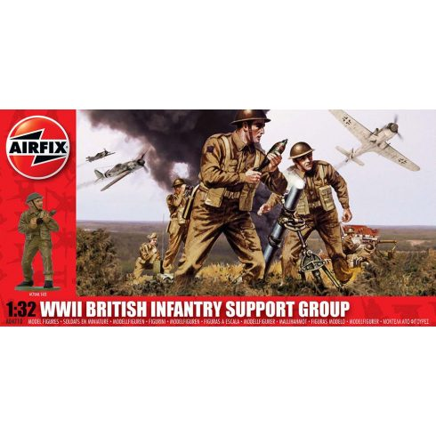 WWII British Infantry Support Group figura makett Airfix A04710