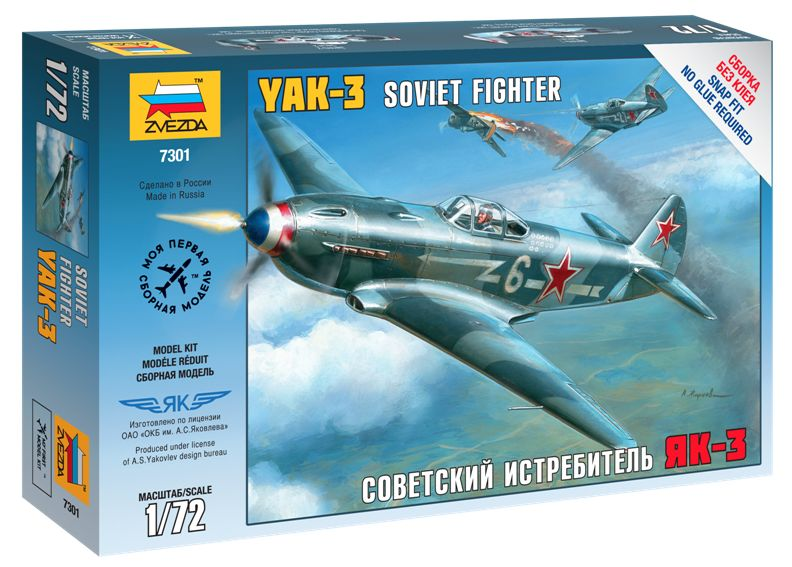 Yak-3 Soviet Fighter katonai repülő makett Zvezda 7301