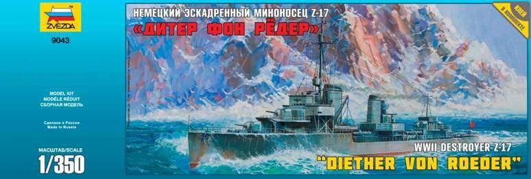 WWII Destroyer Z-17 hajó makett Zvezda 9043